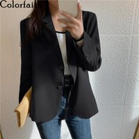 Women's Suits & Blazers Colorfaith 2021 Autumn Winter Elegant Casual Buttons Jackets Vintage Wild Lady Oversize Short Tops JK20212