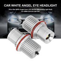 Faros de coches 2pcs 45W por bombilla LED marcador ángel ojos blanco para E39 E53 E61 E60