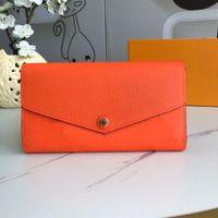 Designer di lusso Sarah Wholesale portafoglio all'ingrosso 7 colori moda singola cerniera Pocke uomini donne in pelle signora signora borsa lunga con scatola arancione