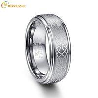 Wedding Rings BONLAVIE Men's 8mm Laser Celtic Knot Brushed Tungsten Carbide Band Polished Step Edge Size 7-14