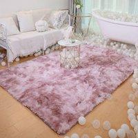 Ins beliebte Wohnkulturbereiche Teppich Flauschige Pelzkrawatte Farbstoff Teppich für Schlafzimmer, Maschinenwaschbares Wohnzimmer Bodenmatte