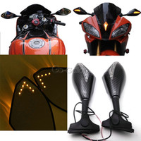 Carbon Fiber Motorcycle LED Turn Signal Rearview Mirrors For Honda CBR 600 F3 F4 F4I CBR600RR CBR1000RR Suzuki GSXR 600 750 1100