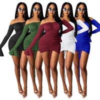 Sexy Kleid Kordelzug aus Schulter Flare Sleeve Nacht Club Kleider für Frauen Partykleidung Gerade gestapeltes Bodycon Minikleid