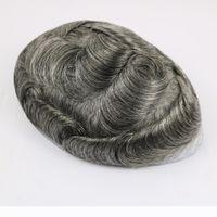 Thin Skin Toupee für Männer Männer Haarstücke Ersatzsystem 1B65 Farbe Human Hair Mens Perücke