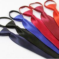 Neck Ti Luxury Yilade 48x8cm Solid Color Zipper Tie Student Class School Uniform Security Tie