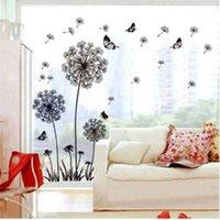 Wall Stickers Black Dandelion Sticker Butterflies On The Living Room Bedroom Window Decoration Mural Art Decals Home Decor