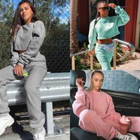 women tracksuits Autumn and winter women's solid color loose long sleeve open navel short fleece sweater high waist sweater suit