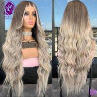 Spitze Perücken kaltgrau grau graue balayage blonde frontperücke 13x4 / 13x6 menschliches haar lose welle remy für frauen 150% 180%