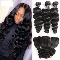 Virgin Human hair Brazilian Indian Loose wave Curly 3&4 Bundles with 13*4 Lace Frontal