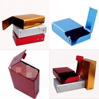 Étui de cigarette d'ouverture de la Côte d'aluminium Portable Portable Couleur pure rectangle Paquet de métal Fashion Smoking Accessoires 8 4By J2