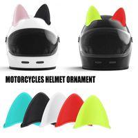 Motosiklet Kaskları 1 adet Araba Kask Kedi Kulakları Motocross Off Yol Dekorasyon Sticker Cosplay Süs Aksesuar ABS 3D