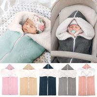 Pajamas Baby Sleeping Bag, Outdoor Stroller Bag Cover Blanket, Woolen Knitting And Velvet Pajama Onesie