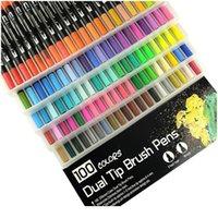 Fineliner Двойной наконечники Щетка Art Markers Pen 12/48/72/100/120 Цвета акварельные ручки для рисования картины каллиграфии Art Jllckz