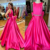 Little Miss Pageant Dress for Teens Juniors Toddlers 2022 Big Bow Beading Crystal Long Girl Formal Party Wear Gown rosie ritzee Zipper 1st Communication Weddings