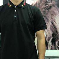 21SS Mens Tee T Shirt Connect Letter TEE Ape Embroidery Collar Uomo Vestiti Manica corta Mens Shirts Tag Lettere Polo Nuovo nero