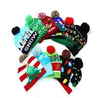 Cadeaux de Noël LED Chapeaux tricotés Enfants Baby Moms Hiver Bonnets chauds Casquettes de crochet pour Pumpkin Festival Festival Fête Décor fête
