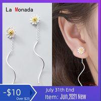 Dangle & Chandelier La Monada Hanging Earrings For Women Silver 925 Daisy Woman Korean Drop Minimalist Female Jewelry Wave
