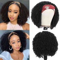 Synthetic Kinky Curly Full Machine Made Wigs For Black Women Curl Hair Daily Wig With Headband