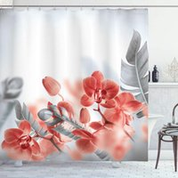 Shower Curtains Tropical Exotic Orchids Blossom Leaves On Blurred Background Floral Modern Art Cloth Fabric Bathroom Decor Set