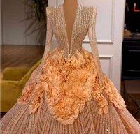 Aftonklänning Kvinnor Klänning Bollklänning Orange Crystal Långärmad V-hals Yousef Aljasmi Kim Kardashian Kylie Jenner Kendal