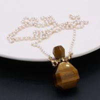Collares collares mujeres esencial aceite difusor natural piedra perfume botella collar encantos perla cadenas en forma joyerlia fiesta exquisito regalo