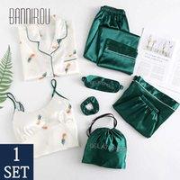 Bannirou Home Swimsuits Vestiti Pigiama da donna Stampato Donne Stampate Donne Sleepwear Lingerie Set Primavera Homewear Donna Pigiama SETS 7 PCS