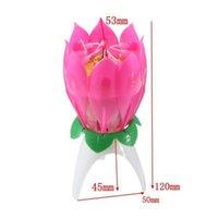 Innovador Partido Pastel Vela Musical Lotus Flower Rotación Feliz Cumpleaños Vela Luz Regalo DIY Cake de Qylmay