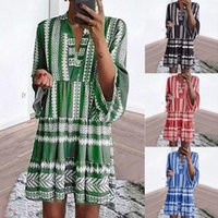 Casual Dresses 2021 For Women V-neck Smock Beach Dress Ladies Summer Holiday Swing Print Vestidos De Mujer Mini