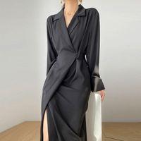 عارضة فساتين الصلبة أنيقة اللباس المرأة الخريف ضمادة ميدي سبليت مكتب سيدة مصمم الكورية نمط قطعة واحدة أنثى 2021