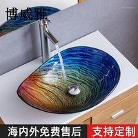 Powaya ванная комната капля воды искусство выше счетчика бассейна эль мытье закаленные стекла раковины1