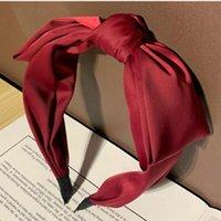 Zarif Şarap Kırmızı Yay Bandı Kadınlar Katı Ilmek Hairband Saten Yay Kafa Band Yetişkin Saç Süsleme Hairband Saç Hoop