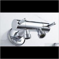 Медная латунная хромированная одиночная входная двухлетная розетка двойной контроль биде ванная комната аксессуары из ванной комнаты трехсторонний угловой клапан для ванной oba3 4efla