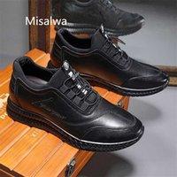 MISALWA NEW Увеличено Контакты Мужчины Кожаные Повседневные Обувь Толстая подошва 5/7 см Увеличение высота Лифта Обувь Лифт Открытый Кроссовки 201217