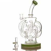 12 Recycler Rohr DAB Oil Rig Cyclone Glas Bong Bowl Cyclone DAB Rig Wasserleitungen mit 14mm weiblicher Schüssel
