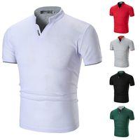 Slim Polo повседневный стиль подростки футболки летний мужской дизайнер Poloshirts модный сплошной цветной воротник стойки