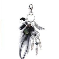 Keychains Natural Dreamcatcher Keychain Women Bag Charm Trinket Fashion Silver Jewelry Gift Feather Leaf Car Key Rings