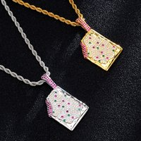 Fashion Hip Hop Bling CZ Ice Cream Iced Out Cubic Zircon Necklaces Pendants Jewelry Charm Collier Rapper Punk Party gifts for women and men