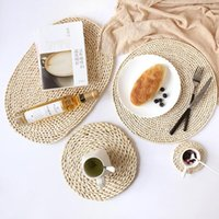 Таблица бегуна меховой сплетенной прокладки утолщенные изоляционные чайные коврики Placemat натуральный мозоль термостойкая кастрюлька подушка кухонный инструмент