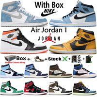 Nike Air Jordan 1 الرجعية 1S مع صندوق jumpman رجل كرة السلة أحذية فرط الملكي سبج الجامعة الأزرق الكهربائية البرتقال محظوظ اللقاح الأخضر النساء أحذية رياضية