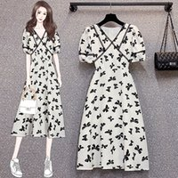 Plus Size Girl Dress Puff Sleeve Printed Summer Dresses Fashion Trend Ladies Printed Dress Casual Big Size Dresses