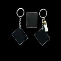 10pcs 아크릴 투명 열쇠 고리 광장 명확한 아크릴 키 체인 공란 DIY 공예에 대 한 술 펜 던 트 열쇠 고리
