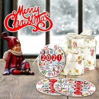 Foreign Trade Cross-Border 2021 Christmas round Wooden Pendant Holiday Home Atmosphere Christmas Tree Decoration