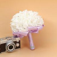Bridal Wedding Bouquet Foam Artificial Handmade Flower Gift Artificial Flowers Hand Bouquet Rose Bride Wedding Supplies RRD7327
