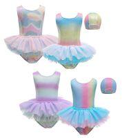 Kinder-Swimwear-Mädchen-Meerjungfrau-Badeanzug-Kappe 2-PC-Bikini Baden Baby Triangl Kind Bow One Piece Swimwear-Anzug
