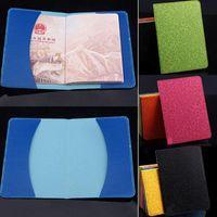 Kits de toilette Lavender Voyage Passeport Pass Passport Couverture Faux Cuir Ticket de carte d'identité ID Case d'entraînement 10cm x 14cm