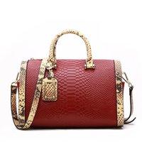 Evening Bags Genuine Leather Handbags Shoulder For Women Luxury Python Snake Pattern Ladies Purses Boston Top-handle Bag Winter 2021