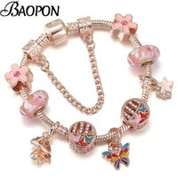 Charm Bracelets BAOPON 2021 Rose Gold Butterfly With Silver Plated Snake Chain For Women Jewelry Gift Dorp