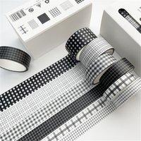 6 PZ / Set 5m Vintage Black Washi Tape Grid Stripe Stripe Nastro Adesivo Decorativo Adesivo Adesivo Scrapbooking Diario Diario Cancelleria 2016 JKXB2103