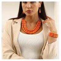 Earrings & Necklace Clan Style Fashion Exaggerated Beaded DIY Handmade Bracelet Three-Piece Jewelry Multi-Layer Set
