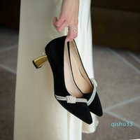Wholesale- designer 2021 womens single shoes formal dress suede upper gold plated heel hand sewn pearl decoration